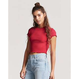 eb38d9594e540  Forever21  BNWT Knit Crop Top with Lettuce Trim in Raspberry