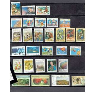 Ref Aus 01   30 Australian Mint Stamps of Combined Denominations over $73 Australian Dollars as in picture