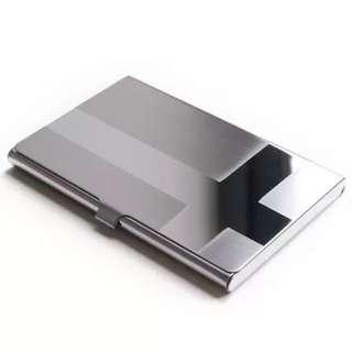 加厚 咭片盒 不銹鋼卡片盒 手推式名片盒