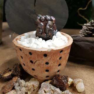 NATURAL RAINBOW LEKLAI / GEOTHITE STONE with clay pot and white pebbles