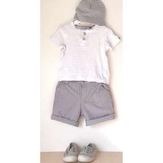 Industrie Boys tee + shorts sz 1 + Bardot beanie