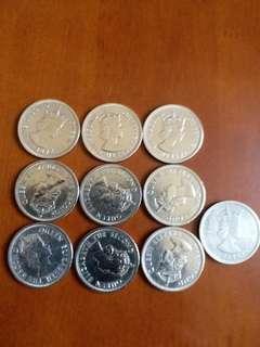包真:香港硬幣:女皇頭:大一元: 全部 1974年/共9個