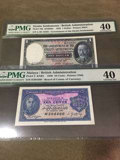 1935 $1 & 1940 10 cents PMG 40