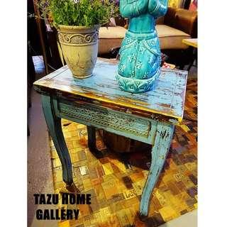 印度風做舊復古雕花特色茶几,角几,實木花架. 44x31x57h cm