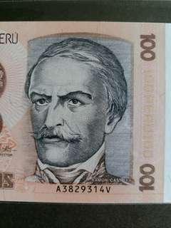 秘鲁纸幣 全新UNC 1987年100元 A3829314V