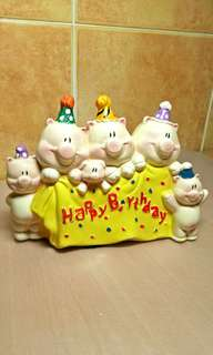 Happy Birthday Family of Pigs Coins Bank.