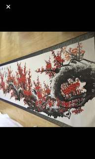 {Collectibles Item - Chinese Ink Painting} 當代绘画家 Modern Chinese Painter Ink Painting On Paper In Scroll-【喜上眉梢圖】C作者 :孙玉泉 (Sun Yu Quan) 中国美㔹会员山东画院高级画师 軸画長11尺6寸(348cm) 寛3尺3寸(98cm)