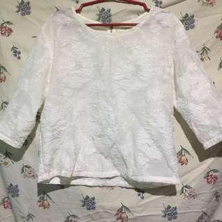 3/4 white floral blouse