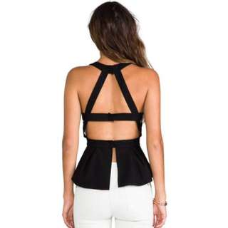 Open Backless High Neck Halter Cut Out Peplum Top 8-10