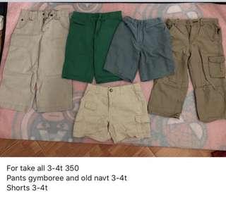 Boys pants and shorts 3-4t