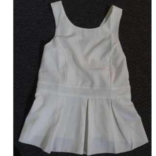 Women's White Sleeveless Peplum Top 8