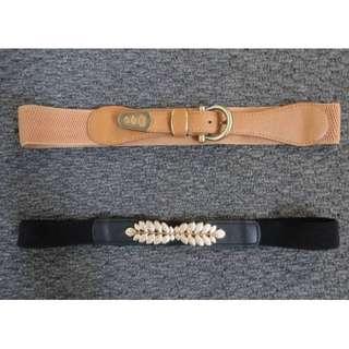 Brown & Black Elastic Waist Gold Belts x2 - various sizes
