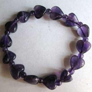 天然心型紫水晶石手串