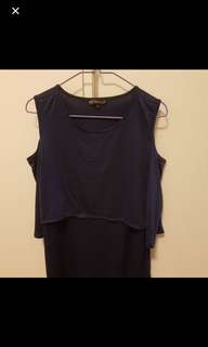 Jumpeatcry off shoulder top in navy