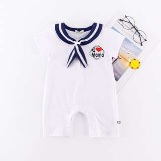 I LOVE MAMA (White) Navy Style Jumpsuit for Baby Girl/ Boy (0-24 Months) CS020W
