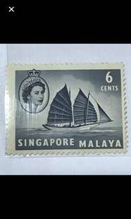 {Collectibles Items - Vintage Stamp} Authentic 1955-09-04 6 Cents Singapore Malaya Queen Elizabeth II & Trengganu Pinas Stamp
