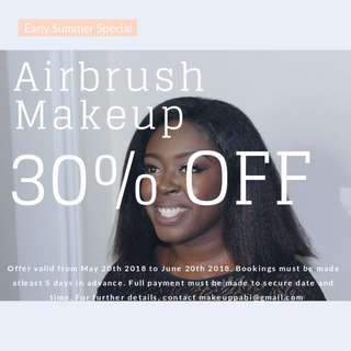 Discounted Airbrush Makeup for Prom/Weddings/Special Occassions