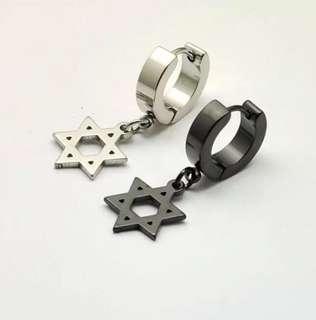 -鈦鋼吊六角星耳扣-