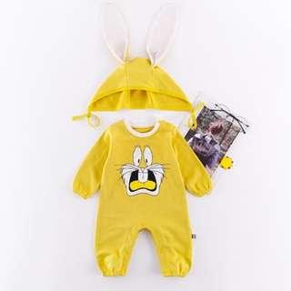Cute Rabbit Pattern Long-sleeve Spring Autumn Jumpsuit Bodysuit for Baby Boy Baby Girl (0-24 Months) CS021Y