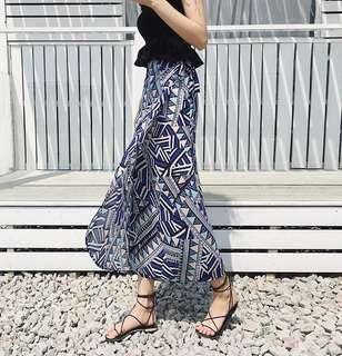 🚚 夏季夏裝女裝沙灘度假波西米亞中長款雪紡一片式高腰系帶半身裙