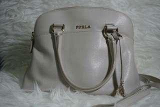 Authentic Furla Light Grey Handbag With Shoulder Strap
