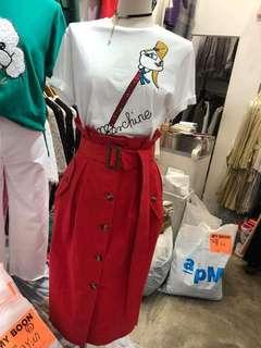 【預購】🇰🇷正韓🇰🇷 排釦綁帶高腰裙