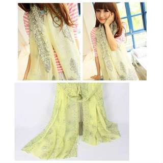 Colorful Summer Scarf / Shawl (light yellow)