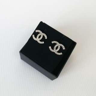 Authentic Chanel Classic CC Silver Rhinestone Earrings
