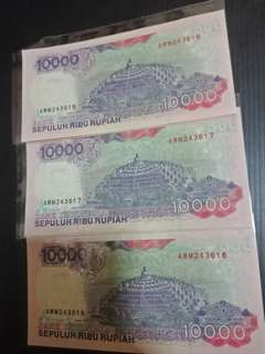 Indonesia 1992years 10000 running 3pcs