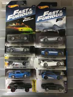 Hotwheels Fast & Furious Die-cast Set of 10