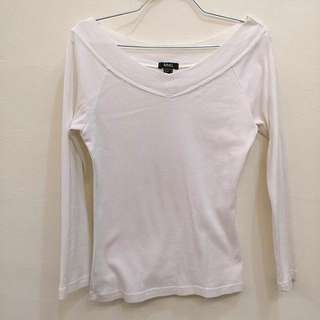 MNG white wide collar top