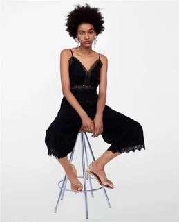 🚚 OshareGirl 05 歐美女士純色蕾絲植絨立體點點細肩帶連身長褲