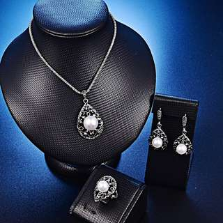 Cute cintage water drop costume pearl pendant necklace earrings ring set