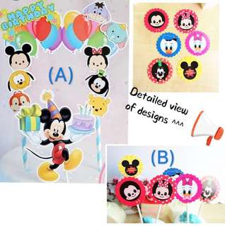 (18/5) (Free normal mail) - Disney theme Tsum Tsum Birthday Cake Toppers/ Tags / Baking Supplies