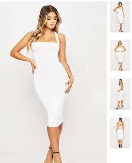 White crisscross halter neck midi dress