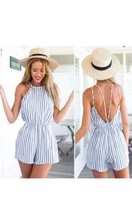 SUMMER BLUE STRIPES JUMPSUIT