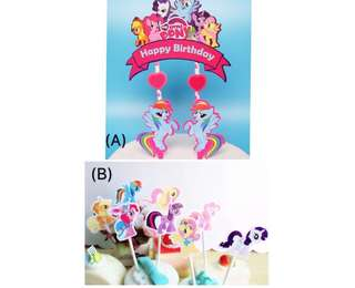 (18/5) (Free normal mail) - My little pony theme Birthday Cake Toppers/ Tags / Baking Supplies