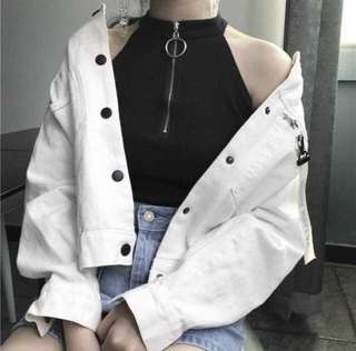 🔥ALL INSTOCK🔥ULZZANG O-RING ZIP HALTER