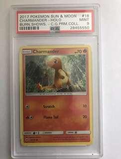 PSA 9 Charmander Holo Pokemon Sun & Moon Burning Shadows Premium Collection