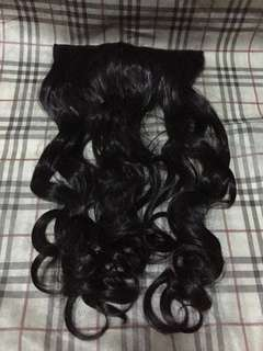 Hair extensions long straight and curly buy 1 take 1 very dark brown