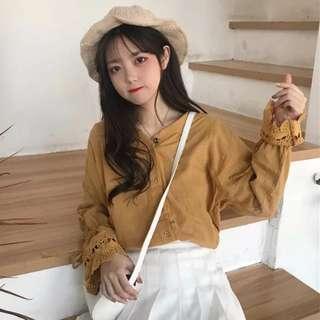 🚚 (PO) Long Sleeved Blouse with Crochet insert