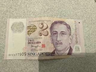 Sisn$2 note
