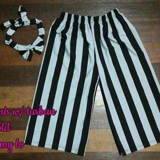 stripes square pants w/ turban