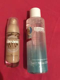 Maybelline dream satin foundation and makeup remover BUNDLE!!