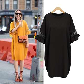 Frill Sleeves Relaxed Fit Dress L-5XL