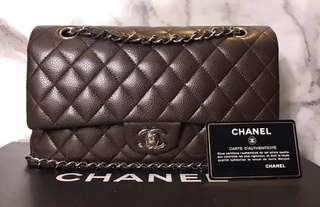 Chanel classic medium caviar chocolate