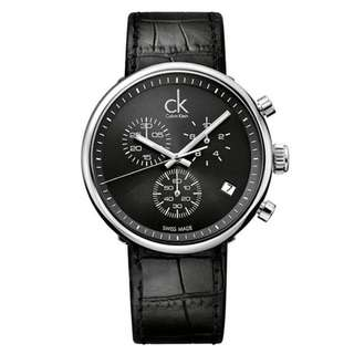 SUBSTANTIAL CHRONOGRAPH BLACK DIAL BLACK LEATHER MEN'S WATCH K2N281C1