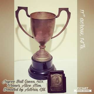 """Very Rare 1959 Vintage Silver-Plated Brass Trophy. Stated """"Jaycee Ball Queen, 1959. Winner, Alice Kok, Donated by Astoria, Ltd. Rarely comes in a set with a Winner's Plaque with carved picture of the game. Both item for $120 offer, sms 96337309."""