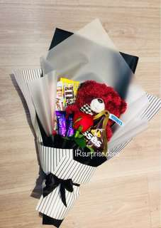 Chocolate and bear bouquet