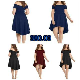💋Off Shoulder Low High Plus Size Dress 💫Crepe cloth, thick soft stretch  💫Off shoulder design  💫Low high hem  💫Free size fits up to XL  💫Good quality